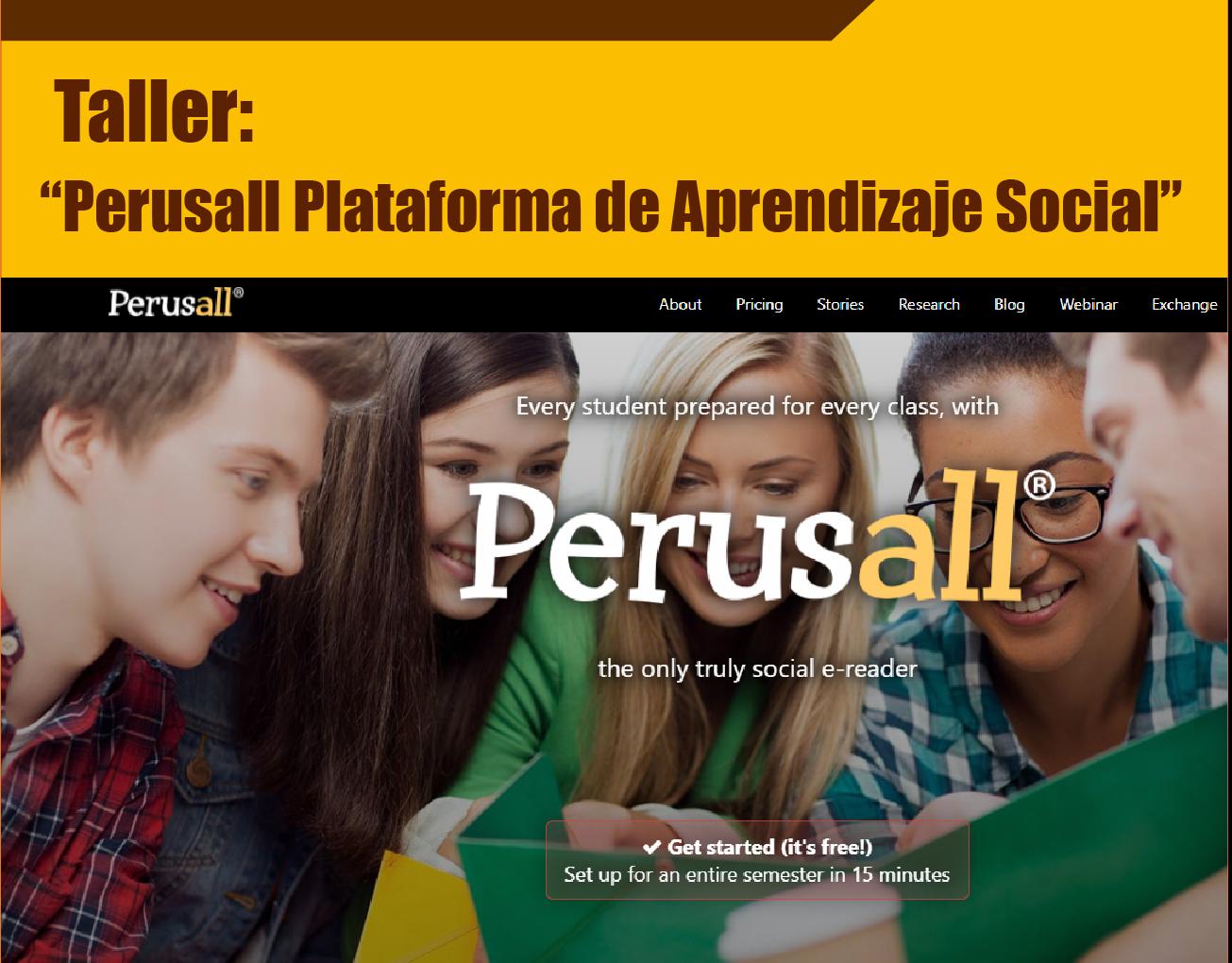 "Taller ""Perusall plataforma de aprendizaje social"""